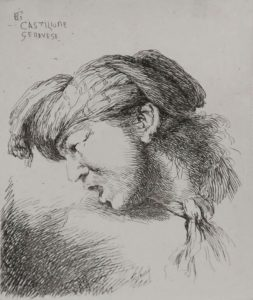 Giovanni Benedetto Castiglione Etching, Man Wearing a Small Turban and a Tie Fastened Around His Neck, Facing Left