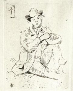 Paul Cézanne Etching, Paul Guillaumin au Pendu, 1873
