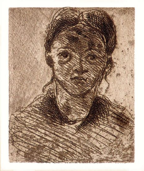 Paul Cézanne Etching, Tête de femme (Head of a Woman), 1873