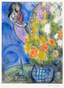 Marc Chagall Lithograph, The Bouquet, 1949
