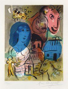 Marc Chagall Lithograph, Hommage à Marc Chagall, 1969
