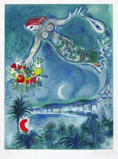 Marc Chagall Lithograph, Sirène et poisson (Sirene & Fish) from Nice & the Côte d'Azur, 1967