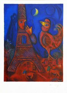 Marc Chagall Lithograph, Bonjour Paris (Good Morning Paris), 1972