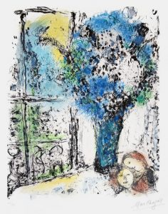 Marc Chagall Lithograph, Marc Chagall Le Bouquet Bleu (The Blue Bouquet), 1974