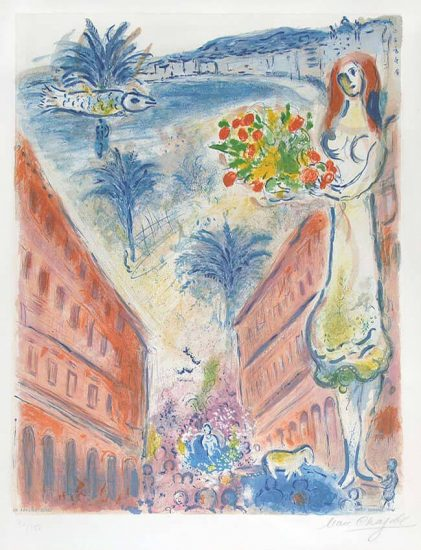 """Marc Chagall Lithograph, Avenue De La Victoire At Nice, Plate VI from """"Nice et la Côte d'Azur"""""""