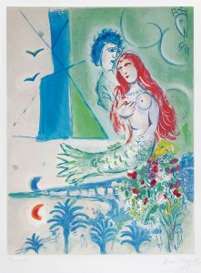 Marc Chagall Lithograph, Sirène au poète (Siren with Poet)  from Nice and the Côte d'Azur, 1967