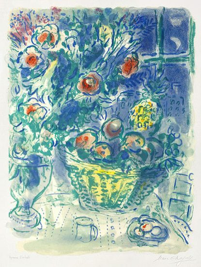 Marc Chagall Lithograph, Corbeille de fruits et ananas (Basket of Fruit and Pineapples), 1964