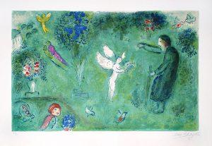 Marc Chagall Lithograph, Le Verger de Philetas (Philetas Orchard) from Daphnis and Chloe,1960
