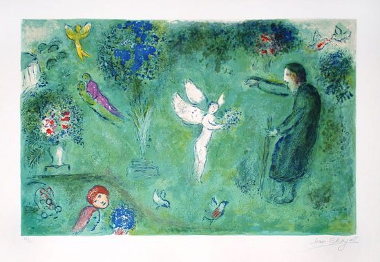 Marc Chagall Lithograph, Le Verger de Philetas (Philetas Orchard) from Daphnis and Chloe,1960