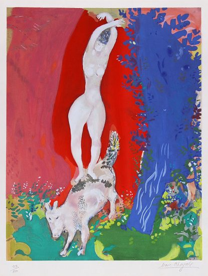 Marc Chagall Lithograph, Femme de Cirque (Circus Woman), c. 1960