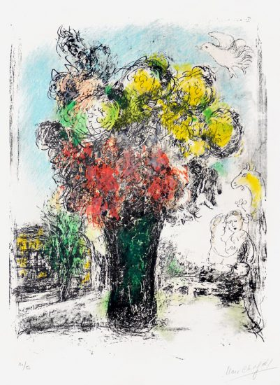 Marc Chagall Lithograph, Le Bouquet Rouge et jaune (Red and Yellow Bouquet), 1974