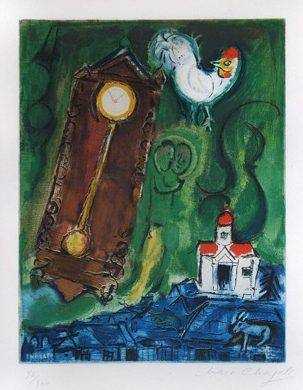 Marc Chagall Lithograph, L'Horloge (The Clock), 1956
