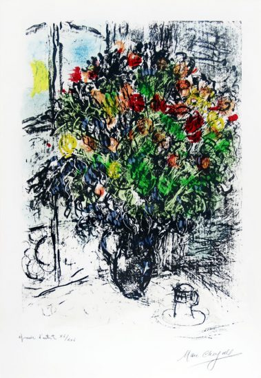 Marc Chagall Lithograph, Le Bouquet Rouge (The Red Bouquet), 1969