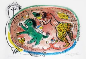 Marc Chagall Lithograph, Le Cercle Rouge (The Red Circle), 1966