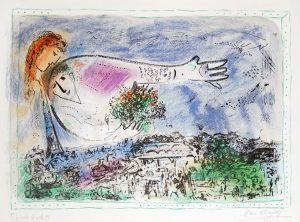 Marc Chagall Lithograph, Au-dessus de Paris (Over Paris), 1970