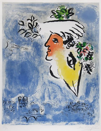 Marc Chagall Lithograph, Le Ciel Bleu, Paris (The Blue Sky of Paris), 1964