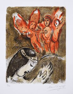 Marc Chagall Lithograph, Sara et Les Angels (Sarah and The Angels) 1960 from Drawings from the Bible