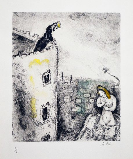 Marc Chagall Etching, David et Bath-Schéba (David and Bathsheba) from The Bible, 1958