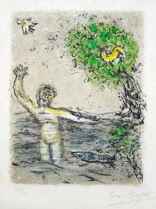 Marc Chagall Lithograph, Le Flots engloutissent Ulysses (The Waves Swallow up Ulysses), from the Odyssey Suite, 1975