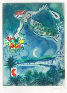 Marc Chagall Lithograph, Sirène et poisson (Sirene & Fish), from Nice & the Côte d'Azur, 1967