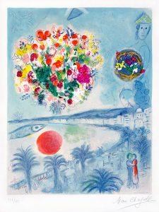 Marc Chagall Lithograph, Sunset from the Nice and The Côte d'Azur Series, 1967