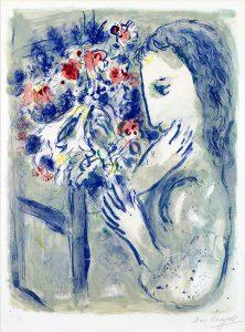 Marc Chagall Lithograph, Femme pres de la fenetre (Woman by a Window), 1964