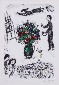 Marc Chagall Lithograph, Bouquet sur la ville (Bouquet over the Town), 1983