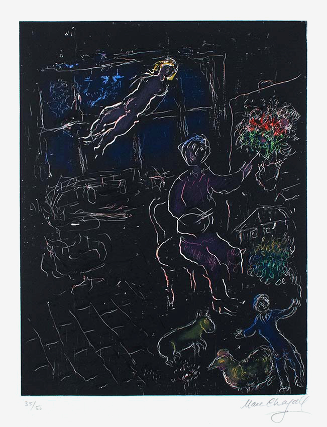 Marc Chagall, L\'Atelier de Nuit (The Studio at Night), 1980, Lithograph