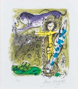 Marc Chagall Lithograph, Le Christ a l'horloge (Christ as a Clock), 1957