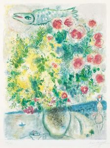 Marc Chagall Lithograph, Roses et Mimosa (Roses and Mimosa) from Nice & the Côte d'Azur, 1967