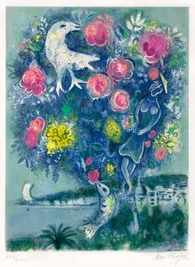 Marc Chagall Lithograph, La Baie des Anges au Bouquet de Roses (Angel Bay with a Bouquet of Roses), from Nice and The Côte d'Azur (1967)