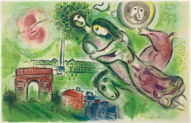 "MARC CHAGALL /""ROMEO and JULIET/"" Signed Numbered Lithograph Art"