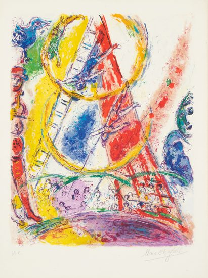 Marc Chagall Lithograph, Le Cirque (The Circus), 1967
