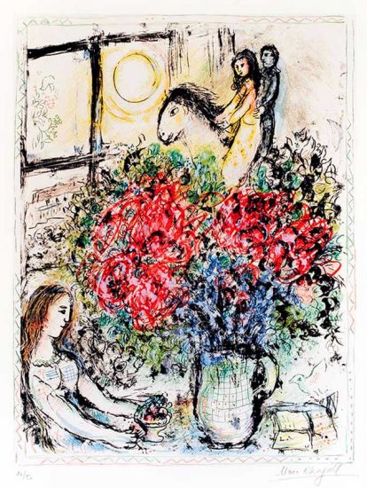 Marc Chagall Lithograph, La Chevaucheé (The Ride), 1970