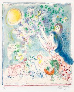 Marc Chagall Lithograph, Marc Chagall La Chasse à L'Oiseau Bleu (Chasing the Blue Bird), 1969