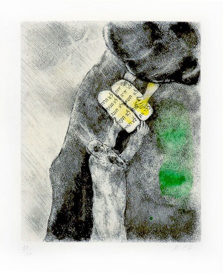 Marc Chagall Etching, Moses Receiving the Ten Commandments, 1958