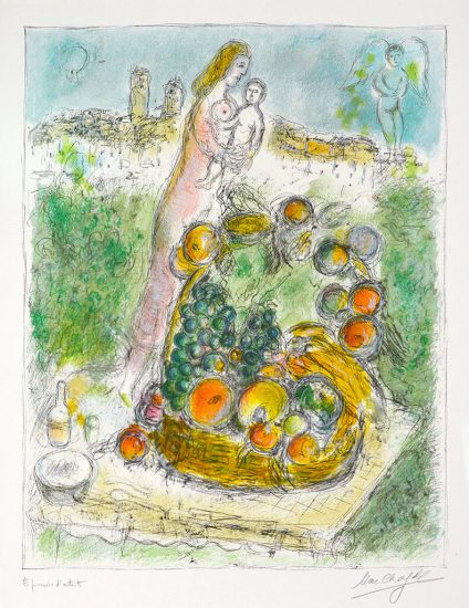 Marc Chagall Lithograph, Mother and Child with Basket, 1975