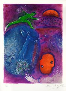 Marc Chagall Lithograph, Songe de Lamon et de Dryas (Lamons and Dryass Dream) from Daphnis and Chloe, 1961