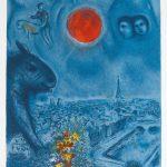 Marc Chagall Lithograph, Le soleil de Paris (The Paris Sun), 1977