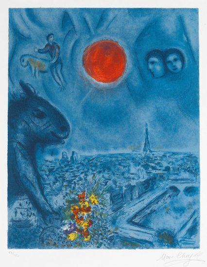 Marc Chagall Lithograph, Le soleil de Paris (The Paris Sun), 1977