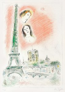 Marc Chagall Lithograph, Marc Chagall Le rêve de Paris (Paris Dream), 1969-70