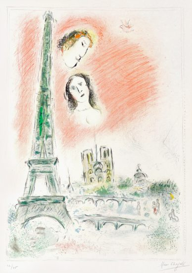 Marc Chagall Lithograph, Le rêve de Paris (Paris Dream), 1969-70