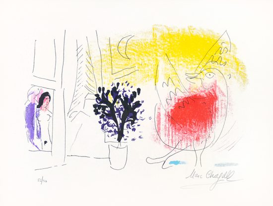 Marc Chagall Lithograph, Le Coq Rouge (The Red Rooster), 1957