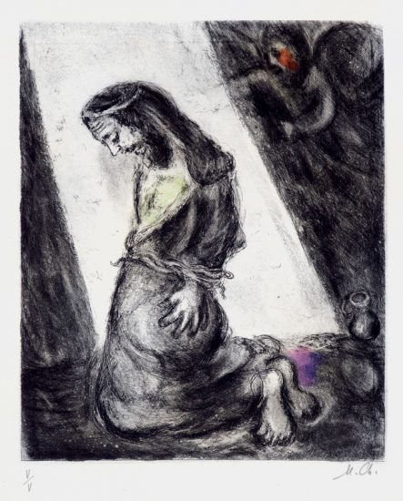 Marc Chagall Etching, Jeremiah in the Pit (from the Bible Series), 1958