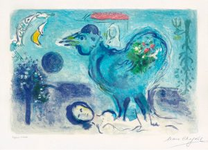 Marc Chagall Lithograph, Paysage au coq (Landscape with Rooster), 1958