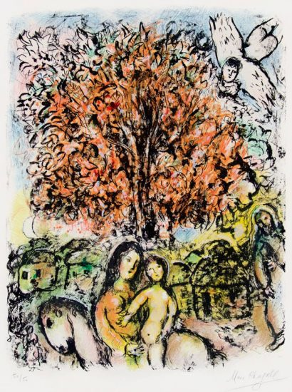 Marc Chagall Lithograph, La Sainte Famille (The Holy Family), 1970