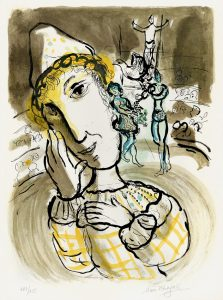 Marc Chagall Lithograph, Le Cirque a Clown Jaune (The Circus with the Yellow Clown),1967