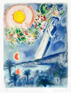 Marc Chagall Lithograph, Fiancés dans le ciel de Nice (Fiancés in the Sky at Nice) from the Nice & the Côte d'Azur series, 1967