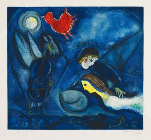 Marc Chagall Etching, Marc Chagall Aleko and his wife Zemphira from an Old Russian Tale, 1955