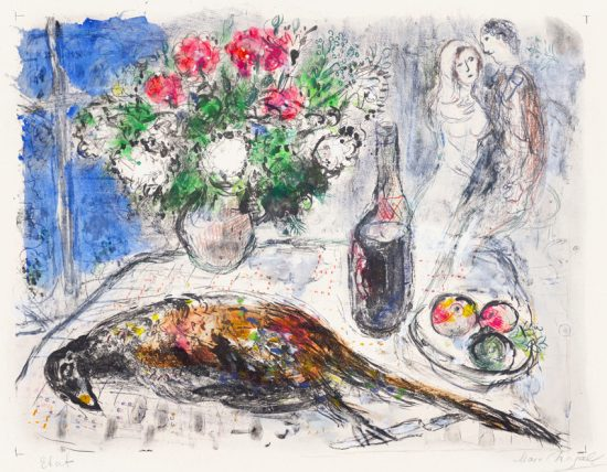 Marc Chagall Lithograph, Untitled Study, 1966